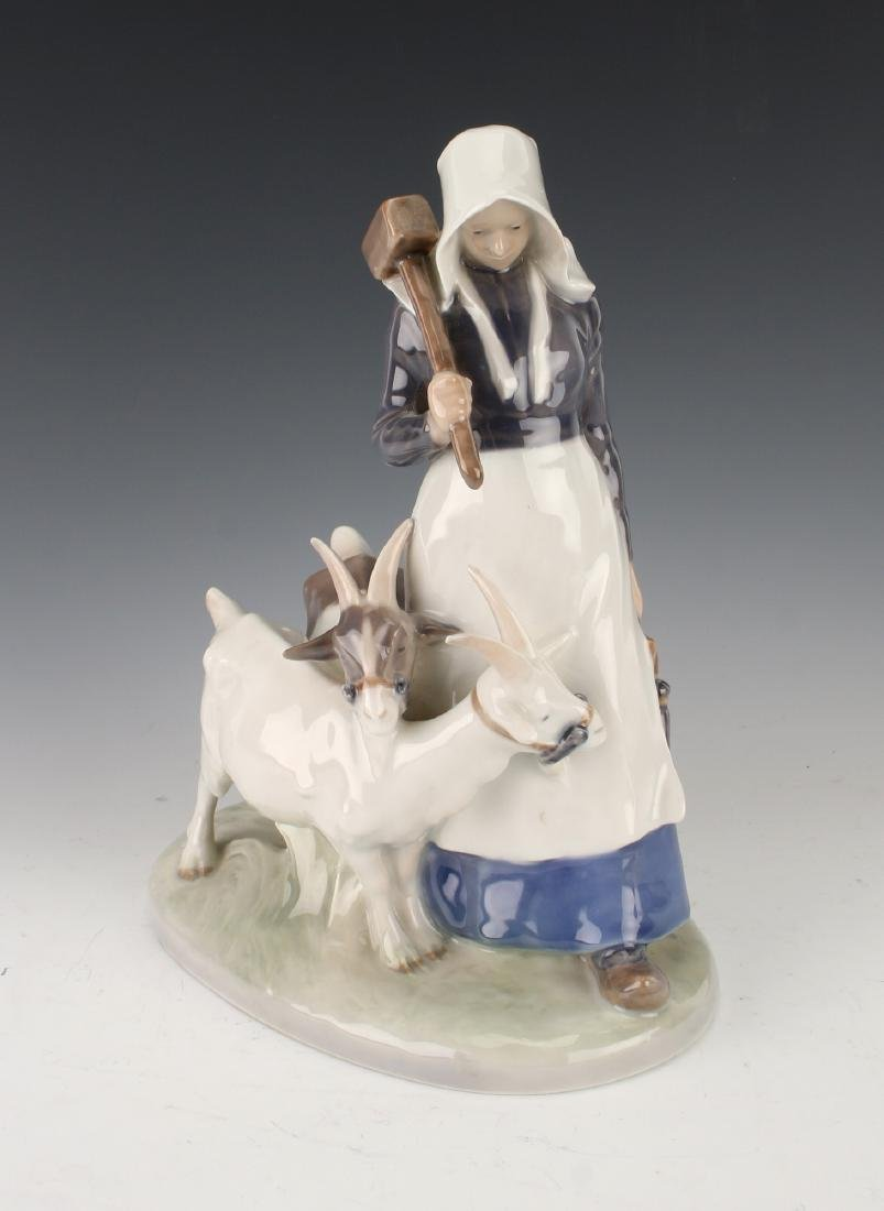 ROYAL COPENHAGEN WOMAN WITH GOATS FIGURINE
