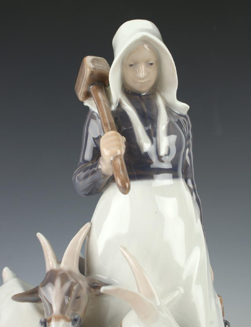 ROYAL COPENHAGEN WOMAN WITH GOATS FIGURINE - 2