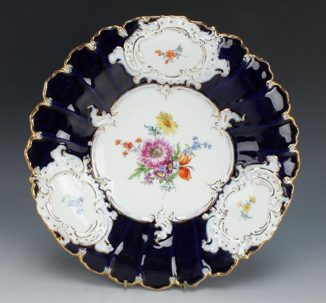 MEISSEN PORCELAIN COBALT & GOLD DECORATIVE PLATE