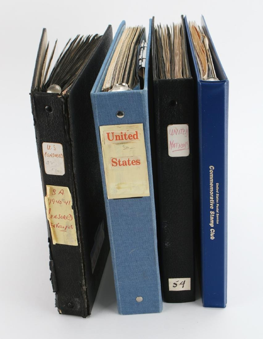 FOUR BINDERS OF STAMPS