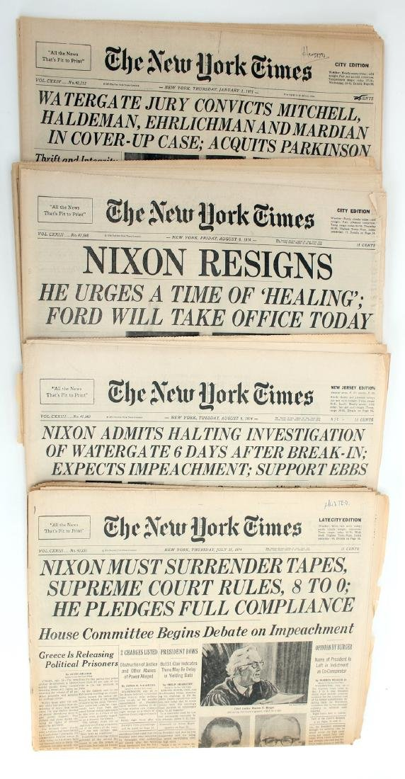FOUR NEW YORK TIMES 1974 NIXON WATERGATE