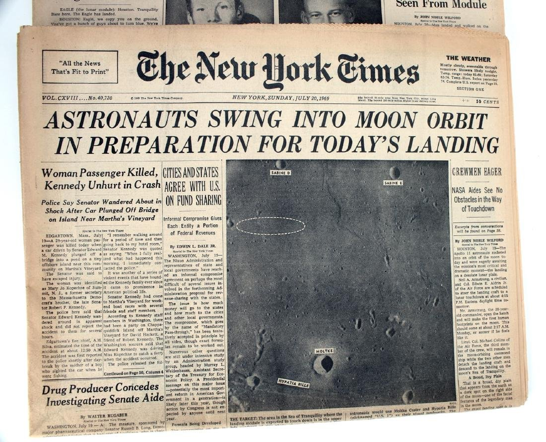 NEW YORK TIMES, PHILA INQUIRER MAN ON MOON 1969 - 2