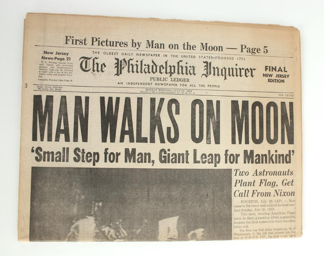 NEW YORK TIMES, PHILA INQUIRER MAN ON MOON 1969 - 4