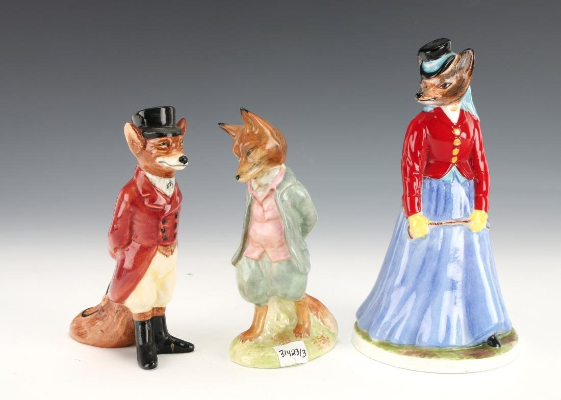 THREE FOX FIGURINES AYNSLEY