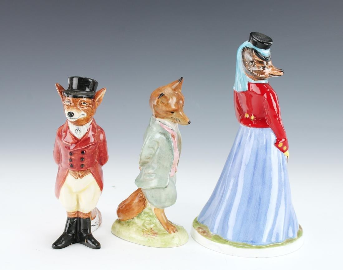 THREE FOX FIGURINES AYNSLEY - 2
