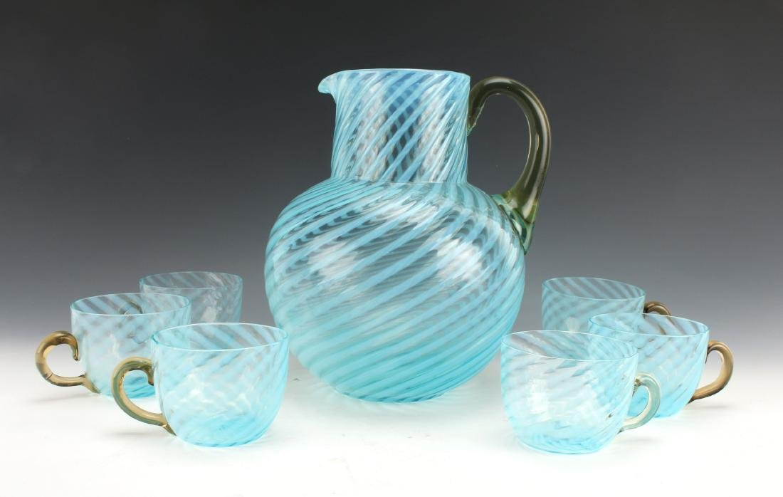 MEXICAN HAND BLOWN GLASS PITCHER AND CUPS