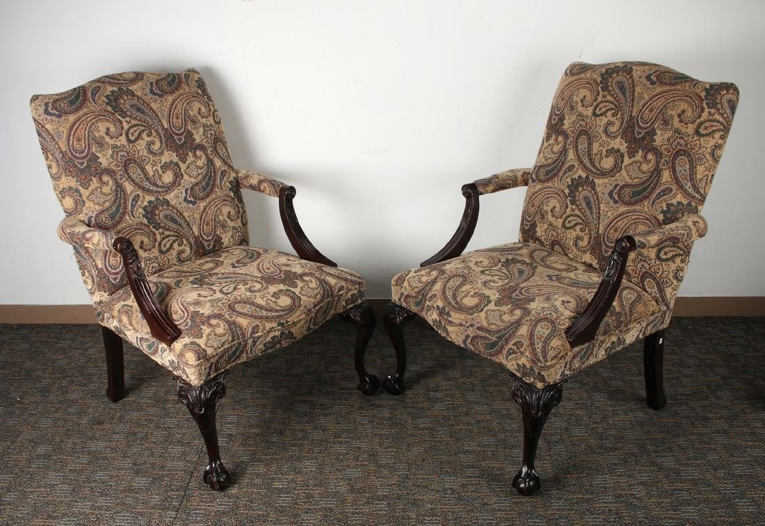 TWO HIGH BACK BALL & CLAW FOOT ARMCHAIRS