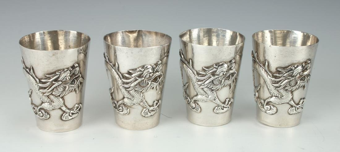 FOUR CHINESE EXPORT SILVER SHOT GLASSES - 2