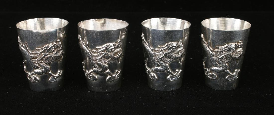 FOUR CHINESE EXPORT SILVER SHOT GLASSES - 4