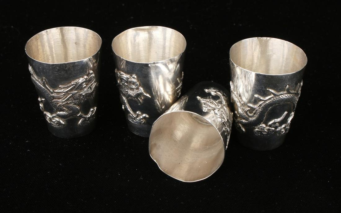 FOUR CHINESE EXPORT SILVER SHOT GLASSES - 5