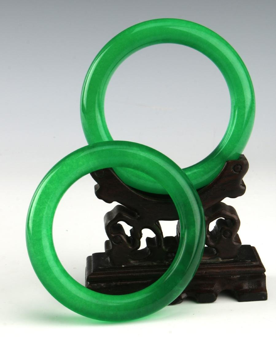 PAIR OF CHINESE GREEN JADE BANGLES