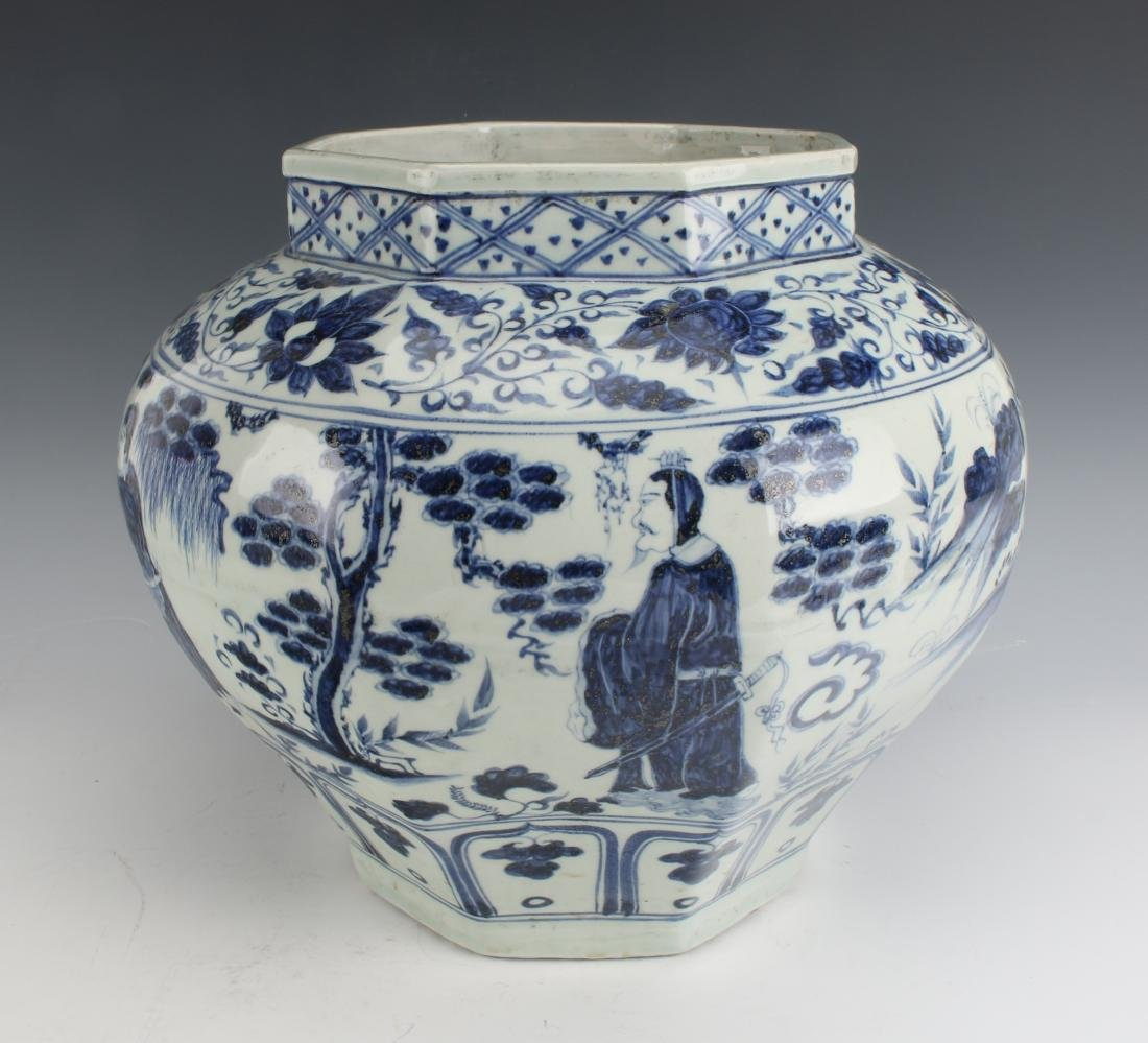 BLUE AND WHITE OCTAGONAL YUAN STYLE PLANTER - 2