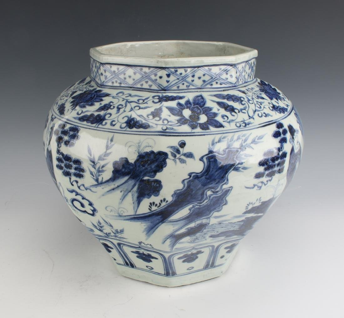 BLUE AND WHITE OCTAGONAL YUAN STYLE PLANTER - 3