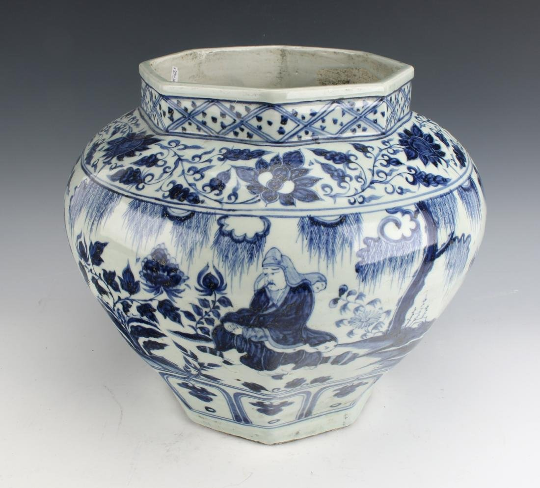BLUE AND WHITE OCTAGONAL YUAN STYLE PLANTER - 4