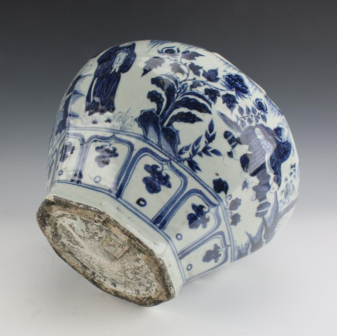 BLUE AND WHITE OCTAGONAL YUAN STYLE PLANTER - 7