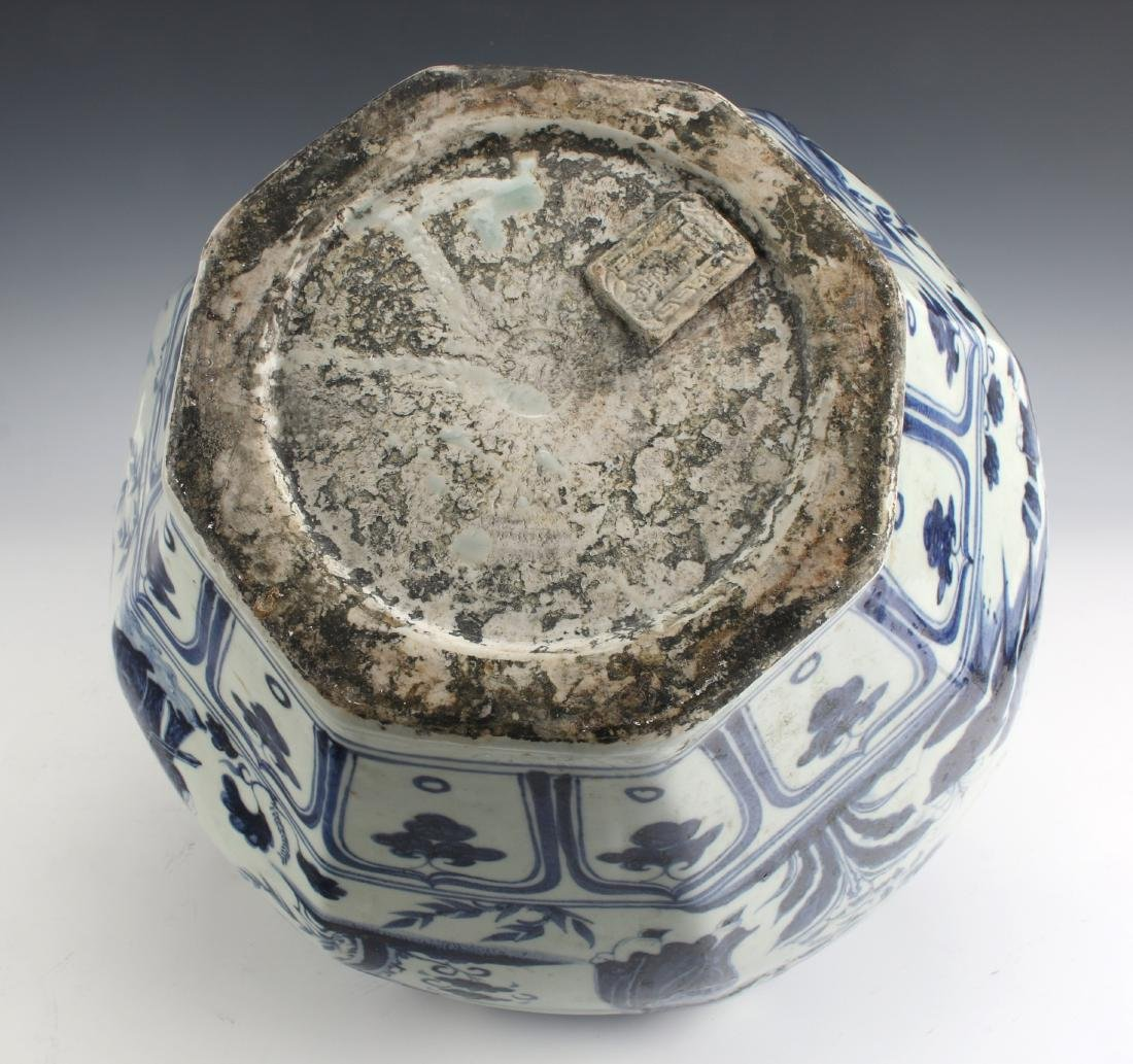 BLUE AND WHITE OCTAGONAL YUAN STYLE PLANTER - 8