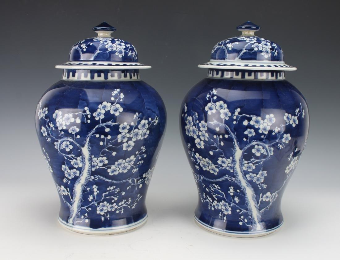 PAIR OF 19TH C. BLUE & WHITE GINGER JARS