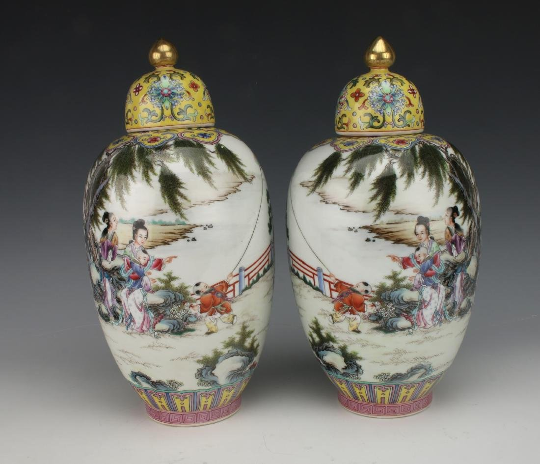 PAIR GINGER JAR VASES WITH LIDS