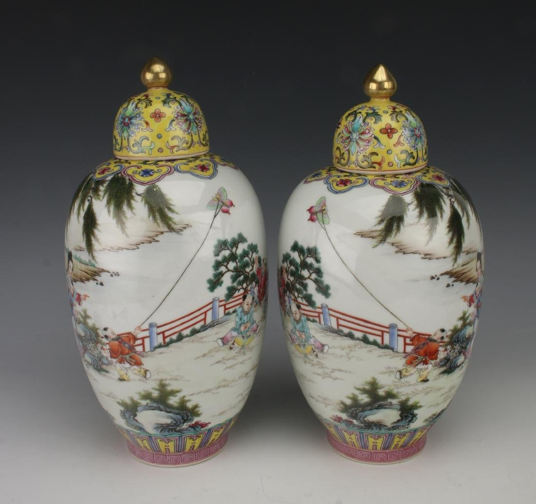 PAIR GINGER JAR VASES WITH LIDS - 2