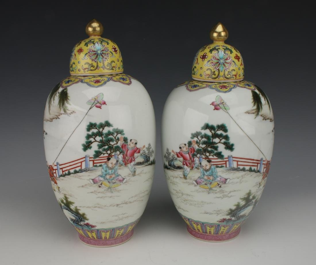 PAIR GINGER JAR VASES WITH LIDS - 3