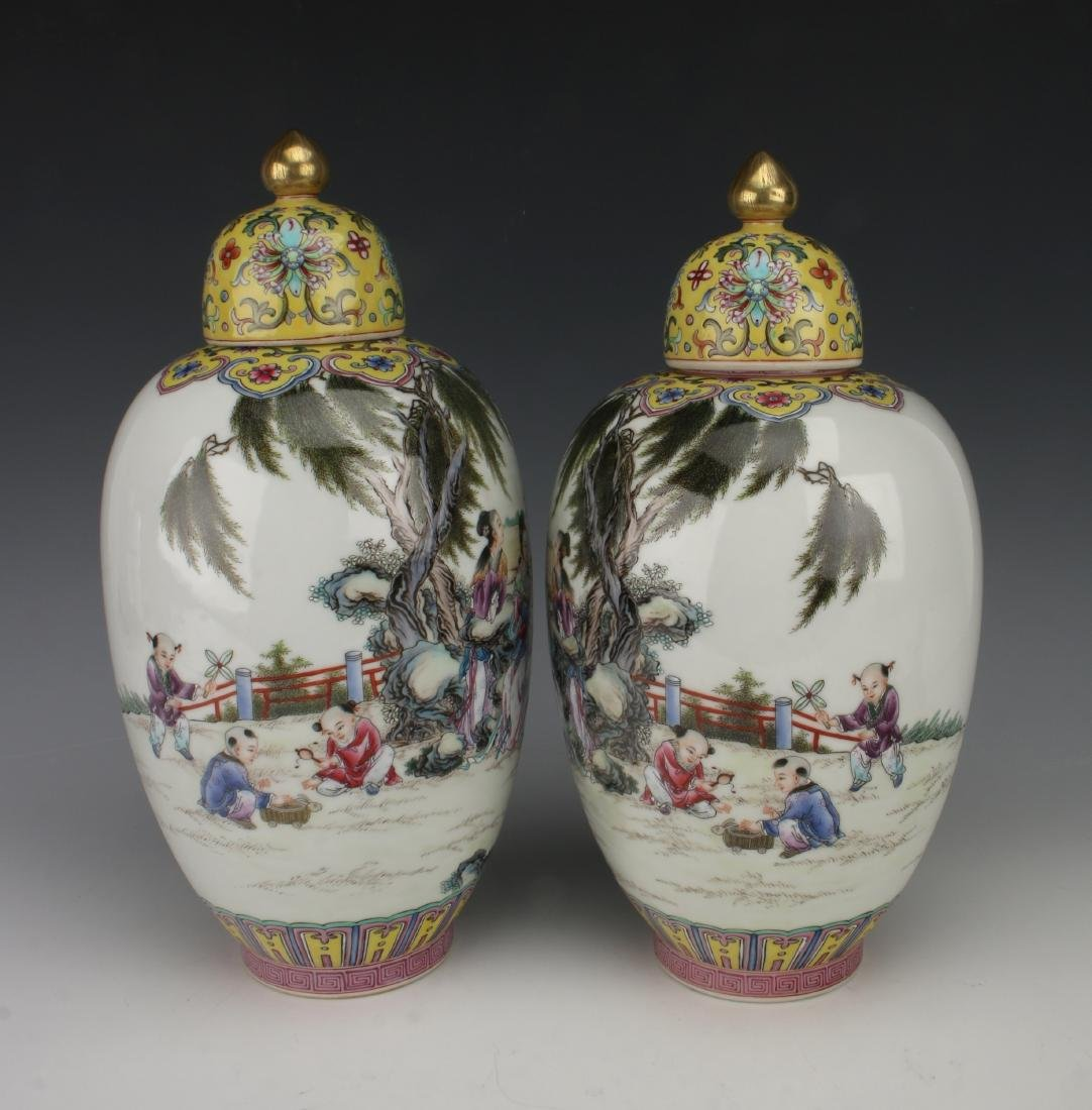 PAIR GINGER JAR VASES WITH LIDS - 4