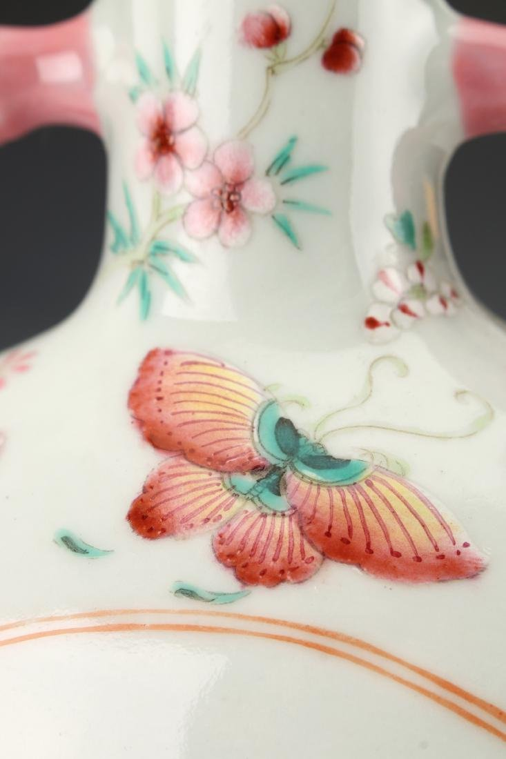 SMALL QING DYNASTY BUTTERFLY MOON FLASK - 7