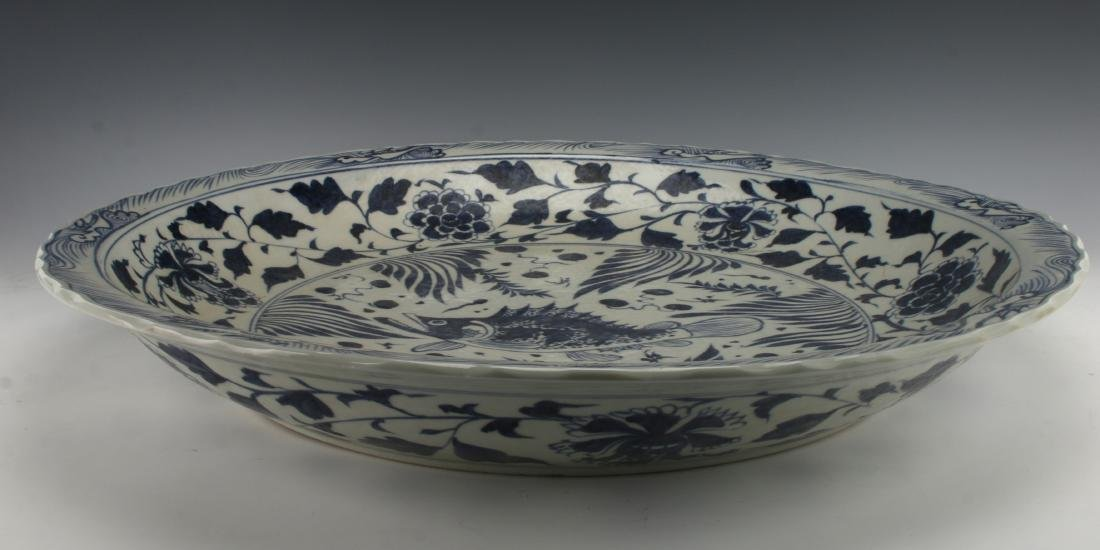 LARGE BLUE & WHITE YUAN STYLE FISH CHARGER - 4