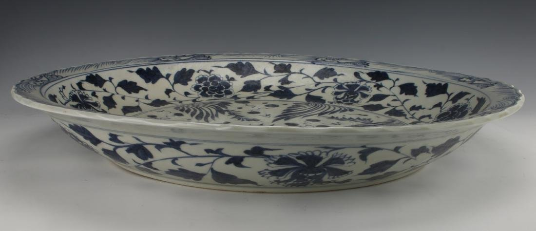 LARGE BLUE & WHITE YUAN STYLE FISH CHARGER - 6