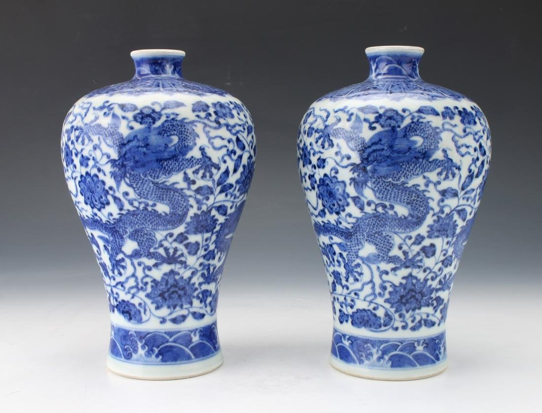 PAIR OF BLUE AND WHITE MEIPING VASES - 2