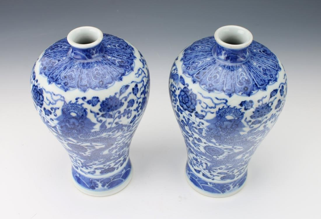 PAIR OF BLUE AND WHITE MEIPING VASES - 3