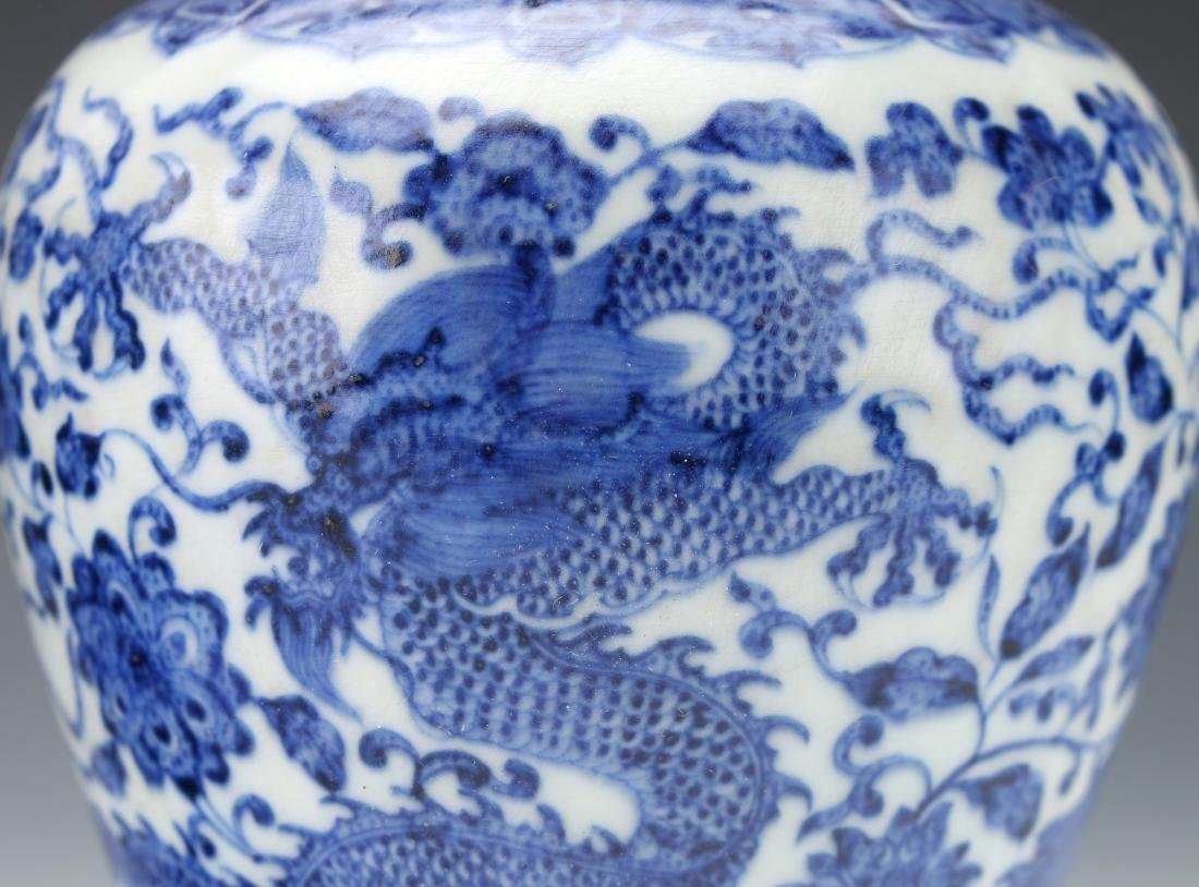 PAIR OF BLUE AND WHITE MEIPING VASES - 5