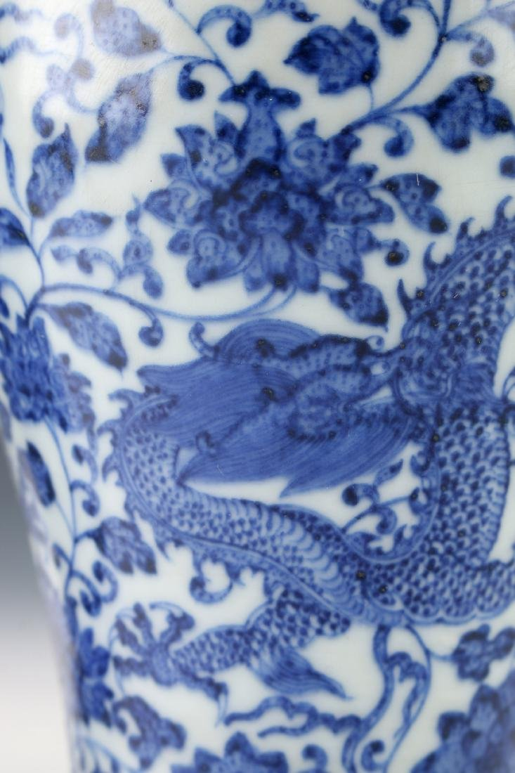PAIR OF BLUE AND WHITE MEIPING VASES - 6