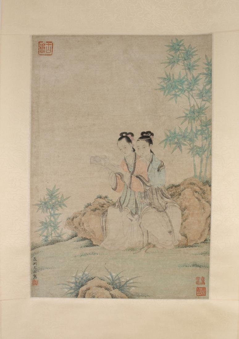 YOU QIU MING DYNASTY WATERCOLOR PAINTING SCROLL