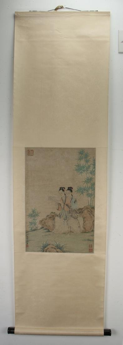 YOU QIU MING DYNASTY WATERCOLOR PAINTING SCROLL - 2