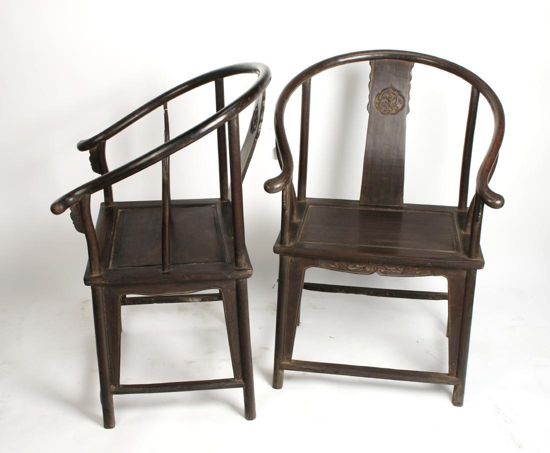 PAIR OF QING ZITAN HORSESHOE BACK CHAIRS - 2