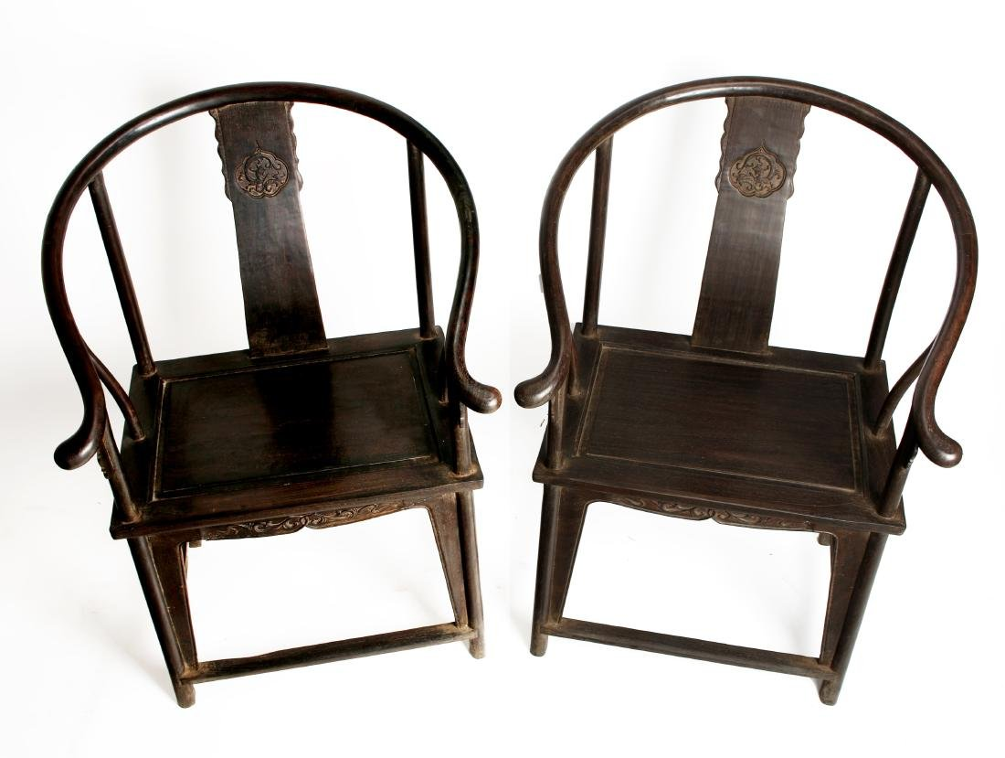 PAIR OF QING ZITAN HORSESHOE BACK CHAIRS - 3
