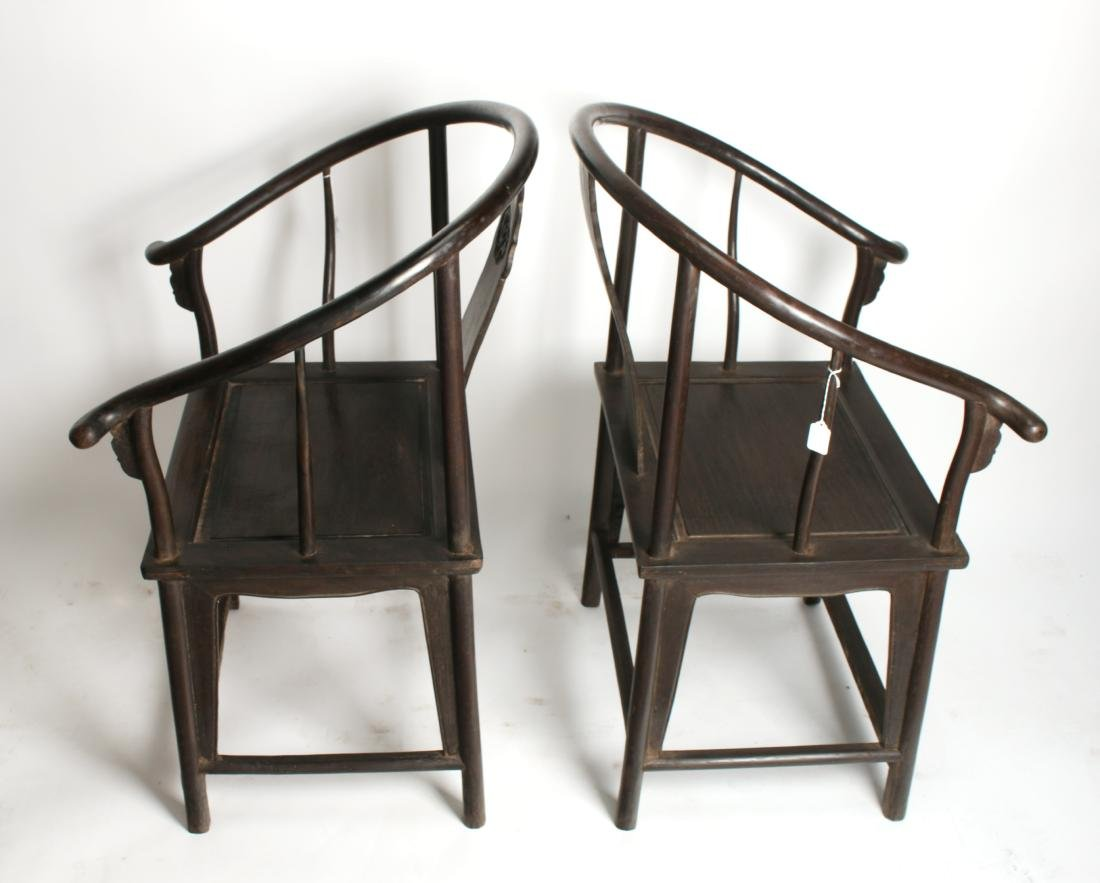 PAIR OF QING ZITAN HORSESHOE BACK CHAIRS - 7