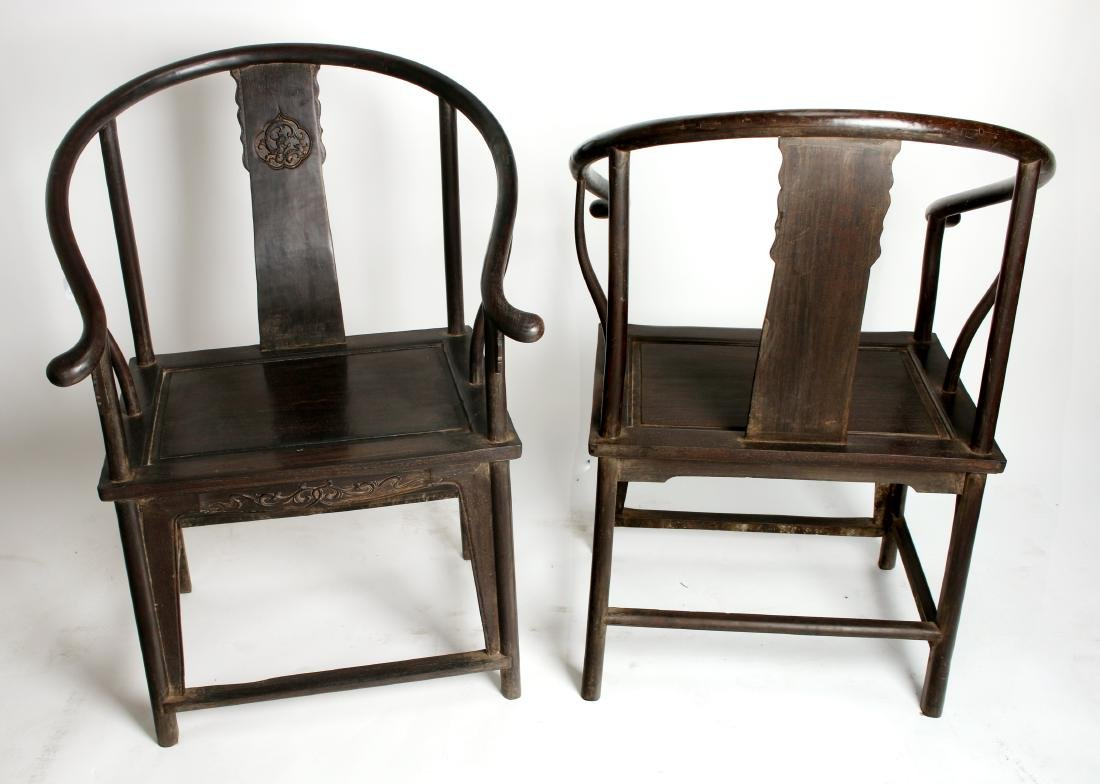 PAIR OF QING ZITAN HORSESHOE BACK CHAIRS - 8