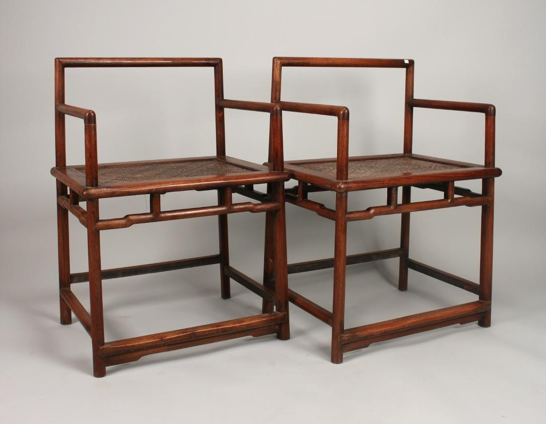 PAIR OF QING HUANGHUALI CHAIRS