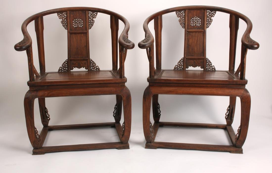 PAIR OF 19TH C. HUANGHUALI HORSESHOE BACK CHAIRS