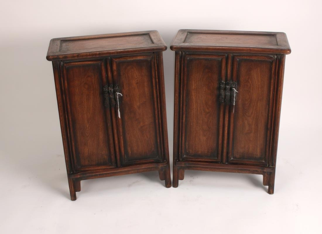 PAIR OF SHORT HUANGHUALI CABINETS - 3