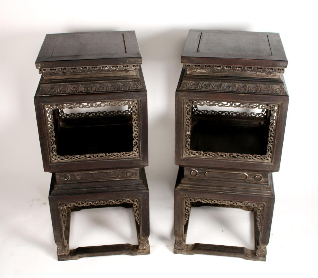 PAIR OF QING ZITAN CARVED & PIERCED VASE STANDS - 3