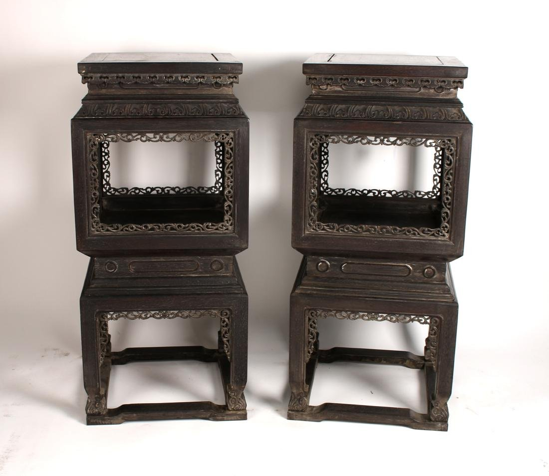PAIR OF QING ZITAN CARVED & PIERCED VASE STANDS - 6
