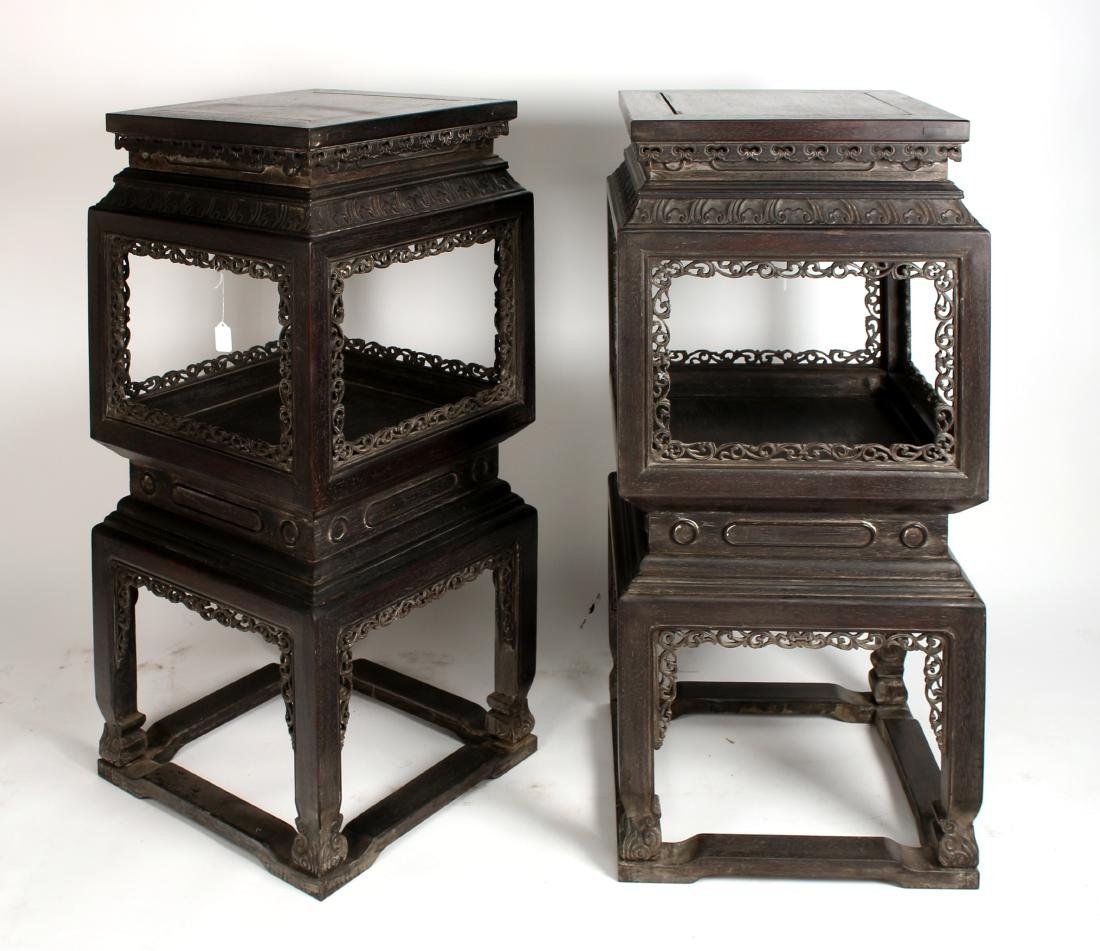 PAIR OF QING ZITAN CARVED & PIERCED VASE STANDS - 9