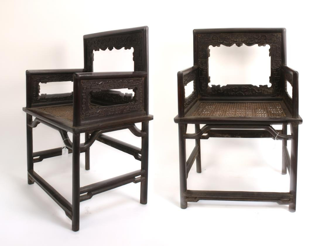 PAIR OF 19TH C ZITAN ROSE CHAIRS