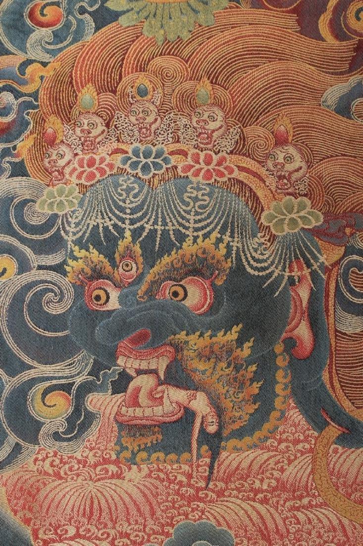 RARE & FINE SILK TIBETAN THANGKA OF YAMANTAKA - 6