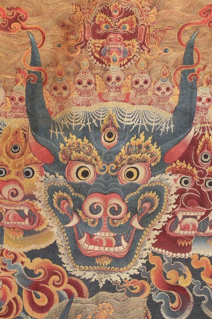 RARE & FINE SILK TIBETAN THANGKA OF YAMANTAKA - 7