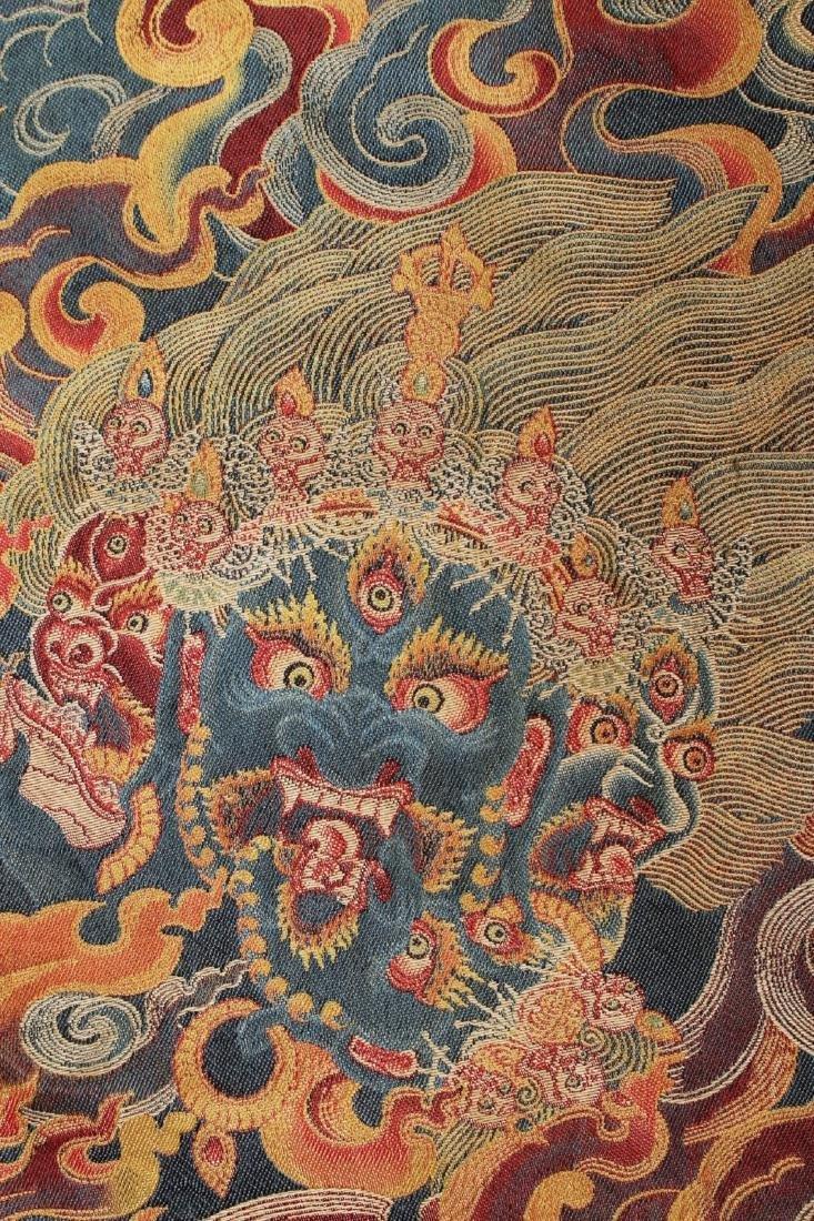 RARE & FINE SILK TIBETAN THANGKA OF YAMANTAKA - 8