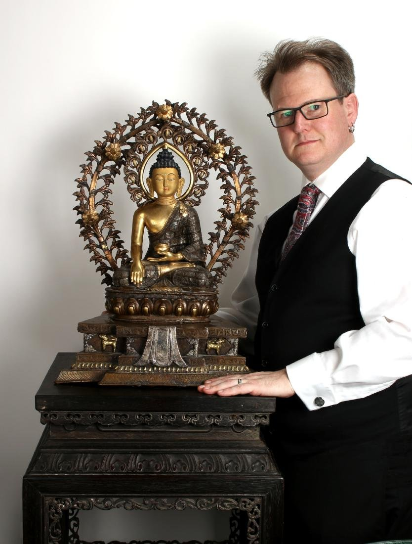IMPORTANT 15TH C. BRONZE GOLD & SILVER BUDDHA