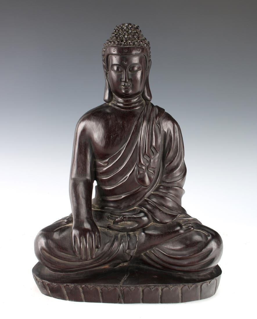 RARE LARGE ZITAN CARVED EARTH CALLING BUDDHA